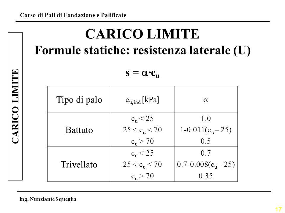 Formule statiche: resistenza laterale (U)