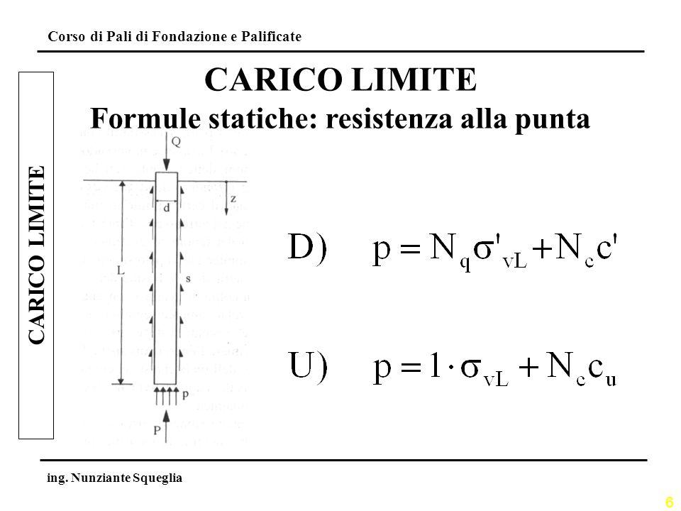 Formule statiche: resistenza alla punta