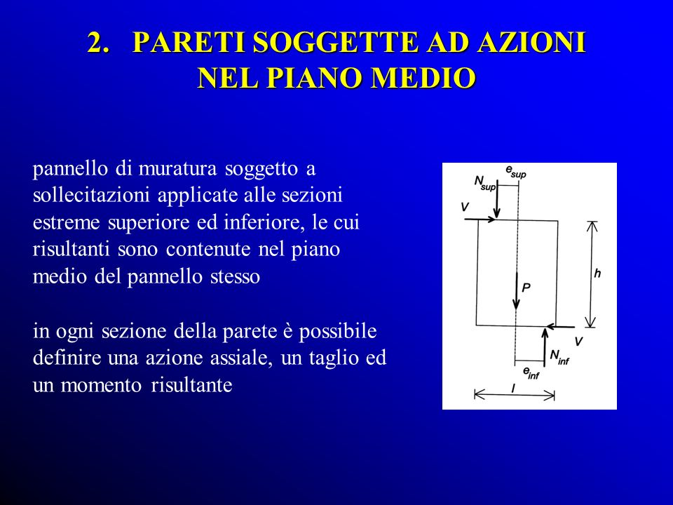 2. PARETI SOGGETTE AD AZIONI NEL PIANO MEDIO