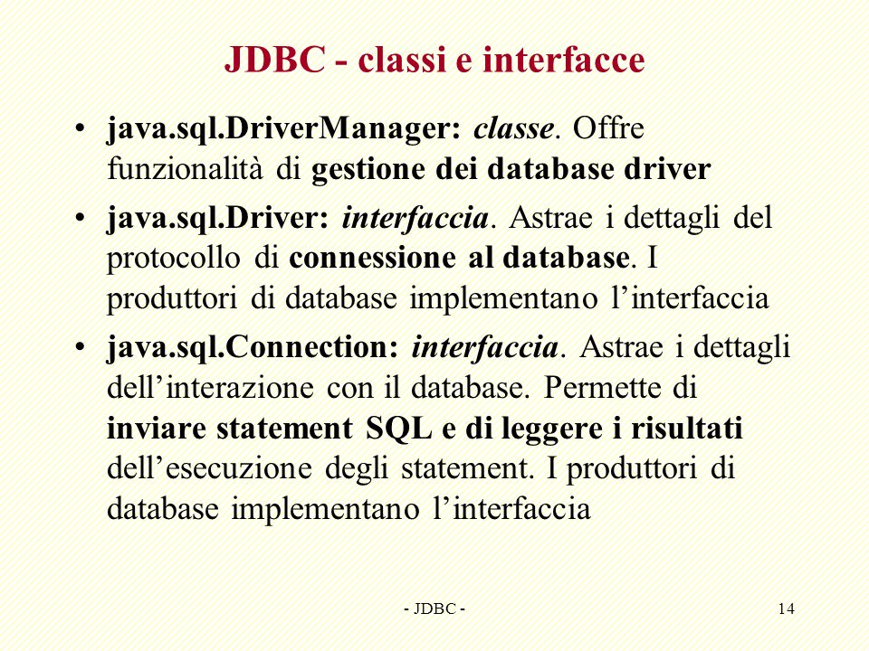 JDBC - classi e interfacce