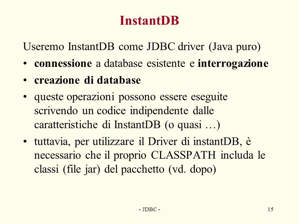 InstantDB Useremo InstantDB come JDBC driver (Java puro)