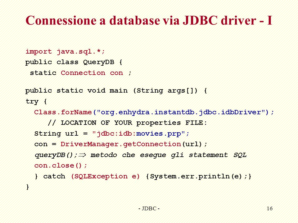 Connessione a database via JDBC driver - I