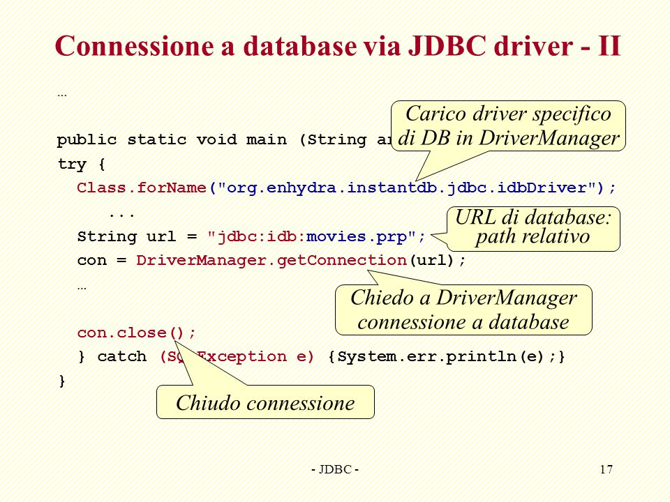 Connessione a database via JDBC driver - II