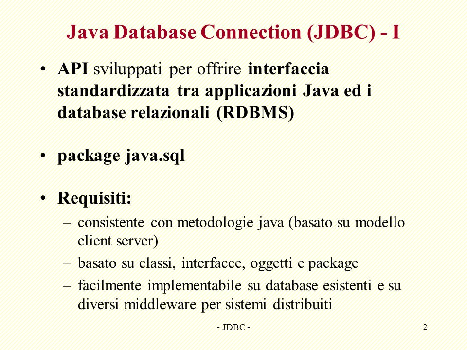 Java Database Connection (JDBC) - I