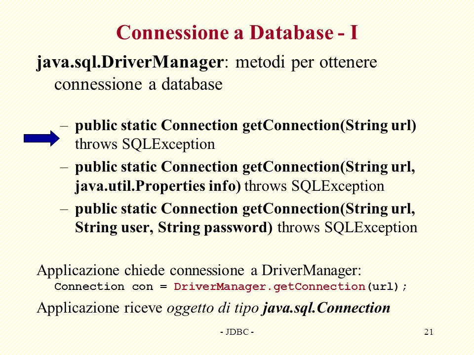 Connessione a Database - I