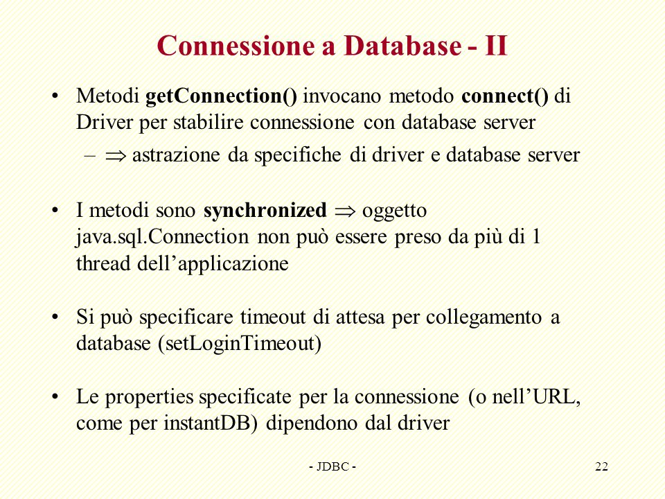 Connessione a Database - II