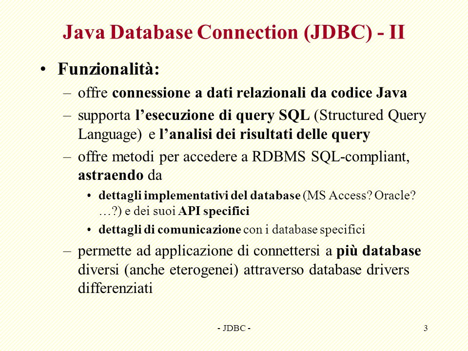 Java Database Connection (JDBC) - II
