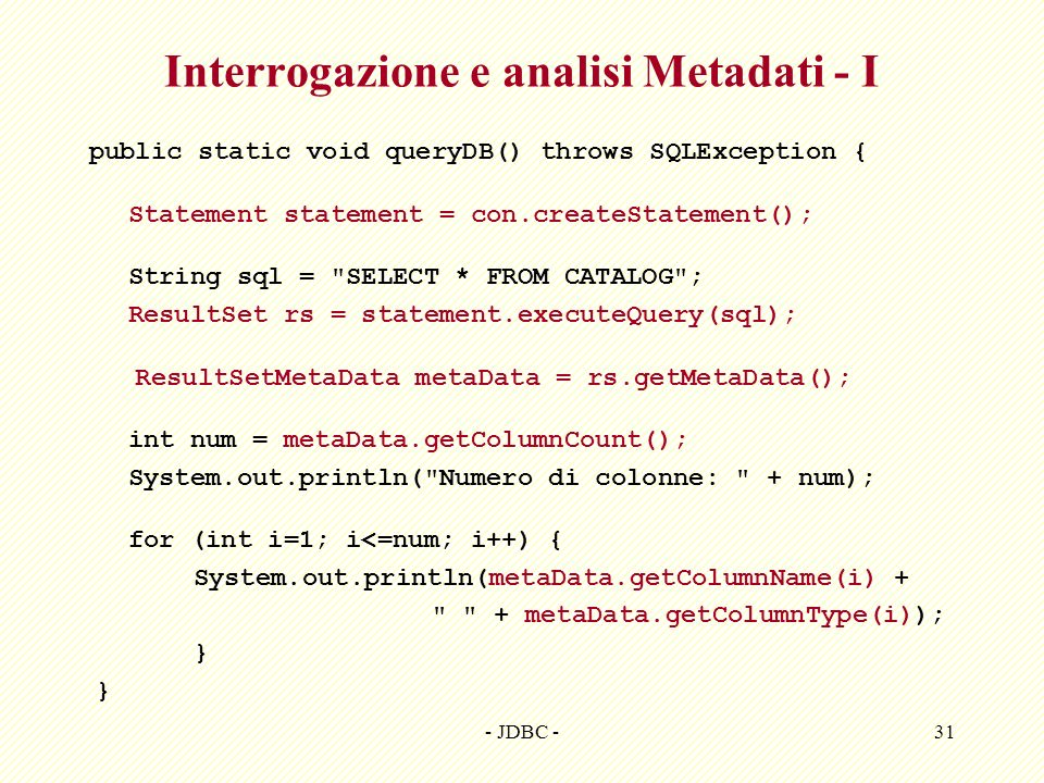 Interrogazione e analisi Metadati - I