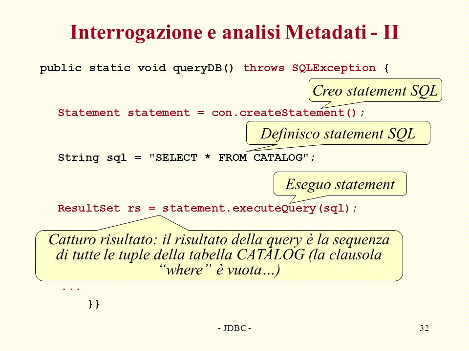 Interrogazione e analisi Metadati - II
