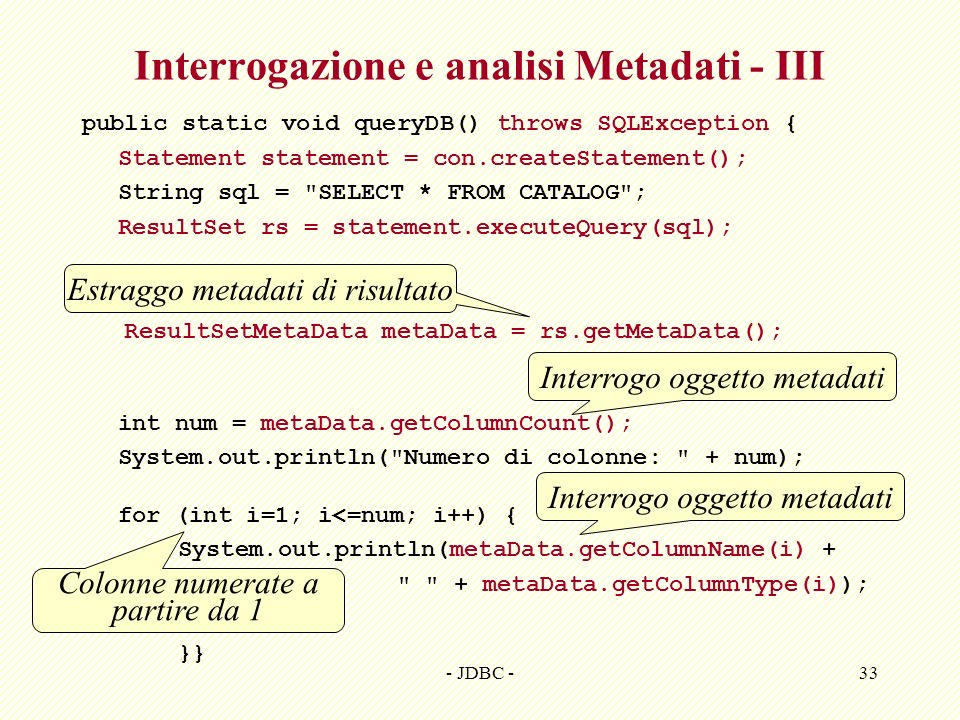 Interrogazione e analisi Metadati - III