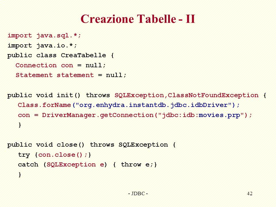 Creazione Tabelle - II import java.sql.*; import java.io.*;