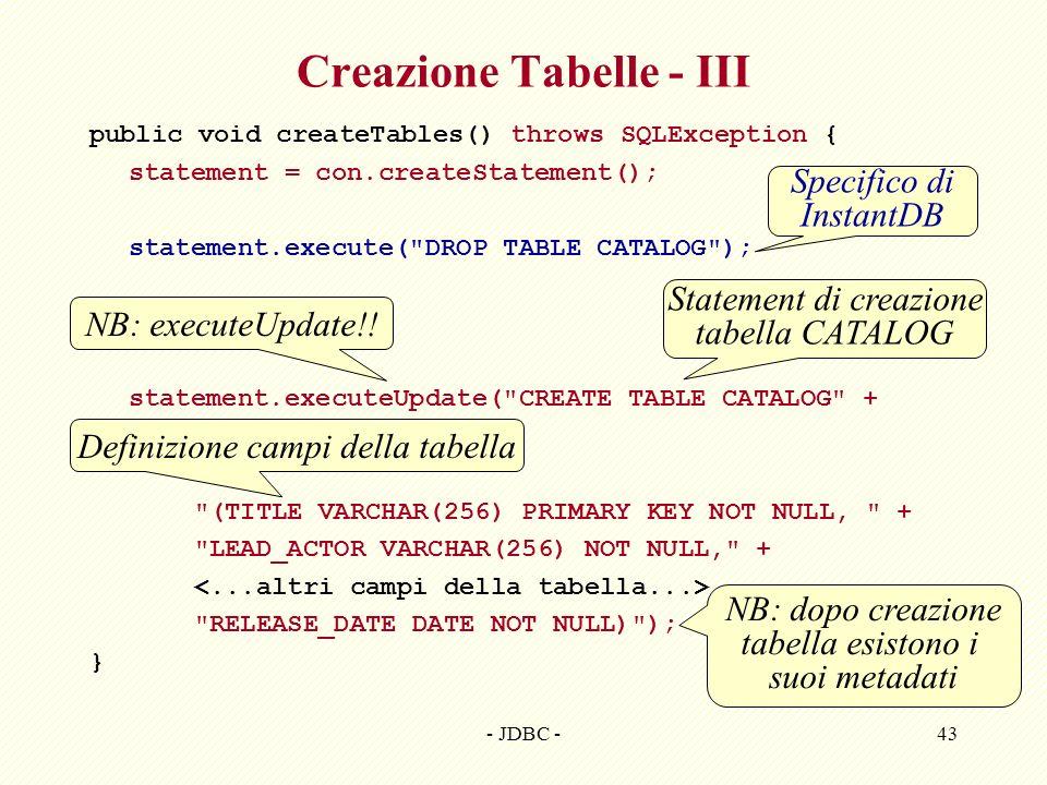 Creazione Tabelle - III