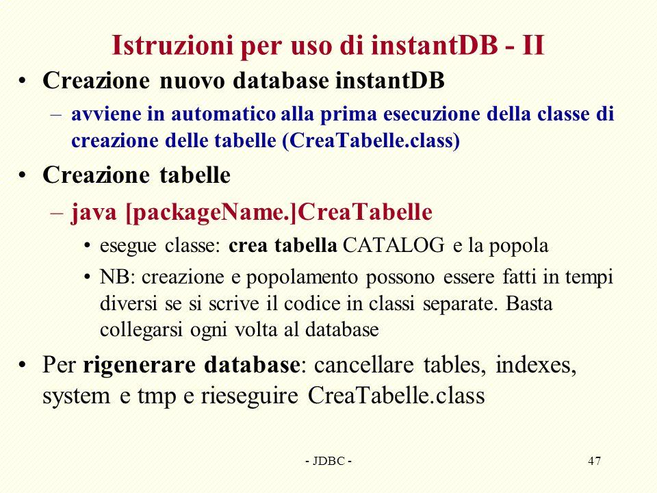 Istruzioni per uso di instantDB - II