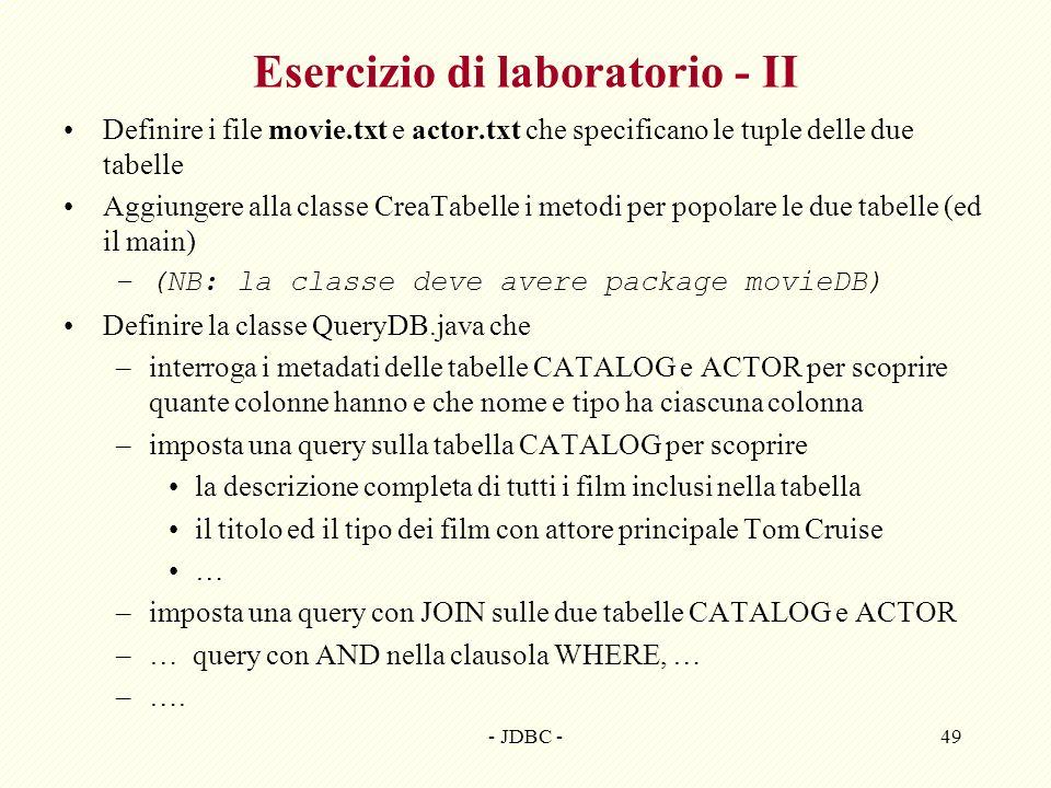 Esercizio di laboratorio - II