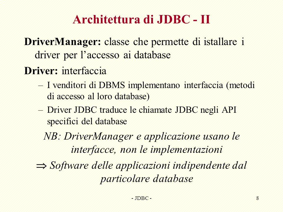 Architettura di JDBC - II