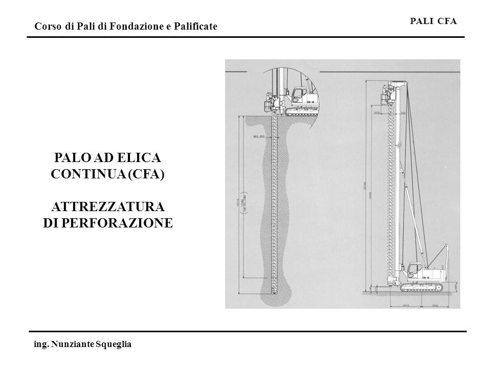 PALO AD ELICA CONTINUA (CFA) ATTREZZATURA DI PERFORAZIONE