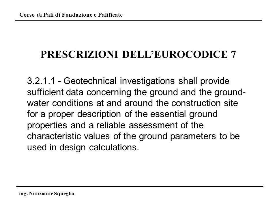 PRESCRIZIONI DELL'EUROCODICE 7