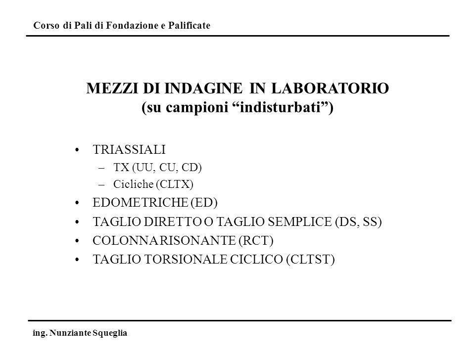MEZZI DI INDAGINE IN LABORATORIO (su campioni indisturbati )