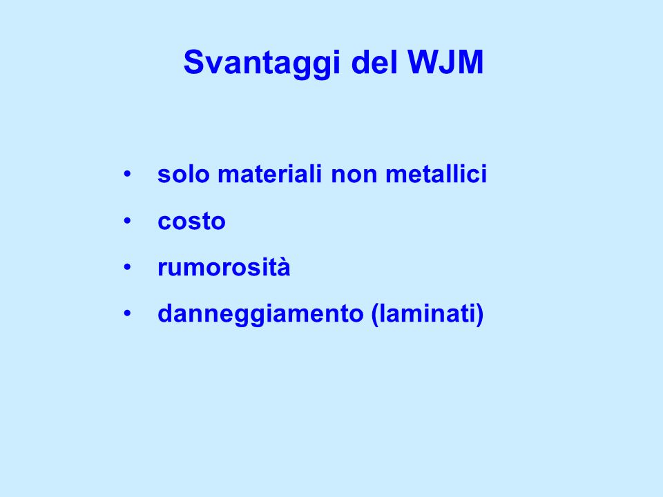 Svantaggi del WJM solo materiali non metallici costo rumorosità