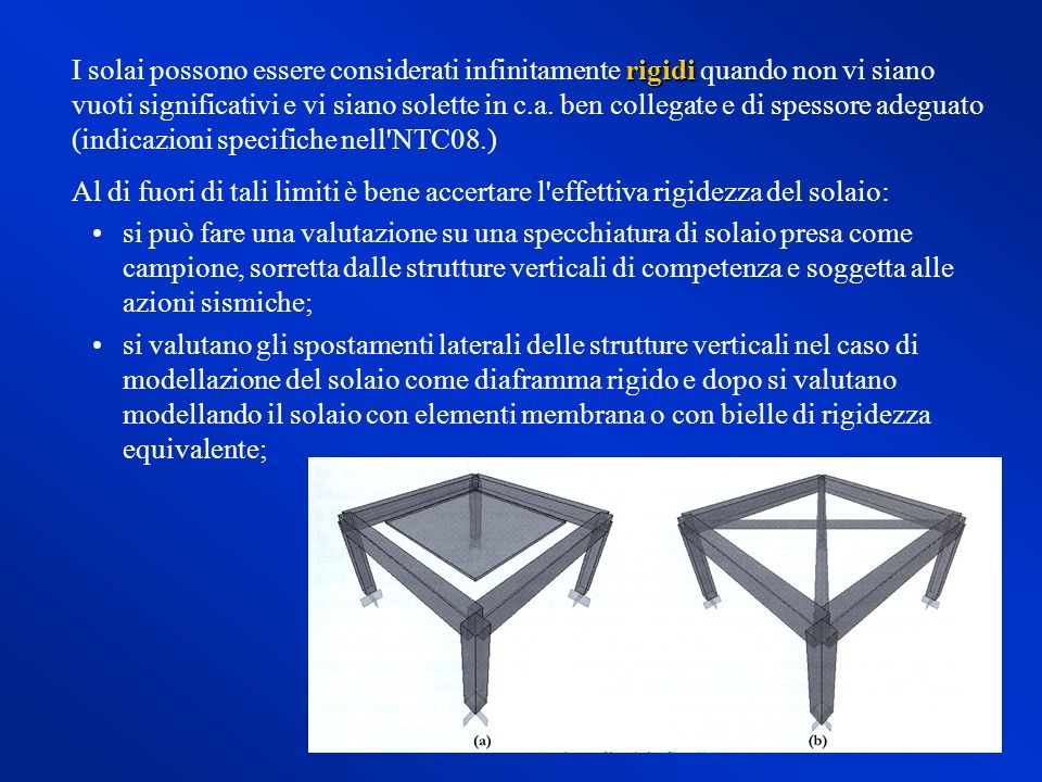 I solai possono essere considerati infinitamente rigidi quando non vi siano vuoti significativi e vi siano solette in c.a. ben collegate e di spessore adeguato