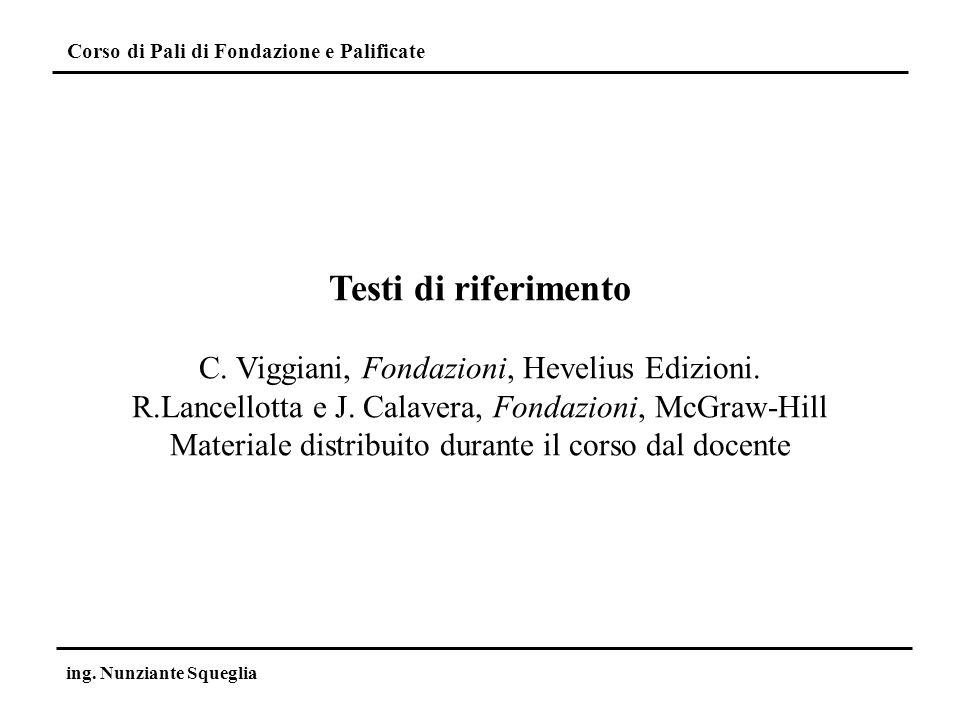 Testi di riferimento C. Viggiani, Fondazioni, Hevelius Edizioni.
