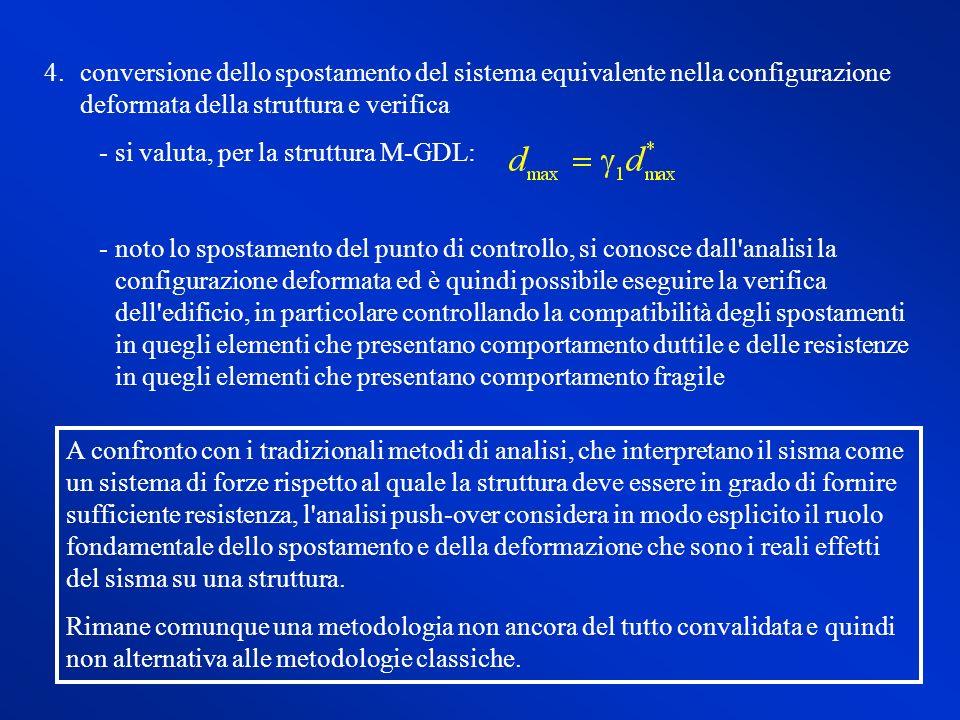 conversione dello spostamento del sistema equivalente nella configurazione deformata della struttura e verifica