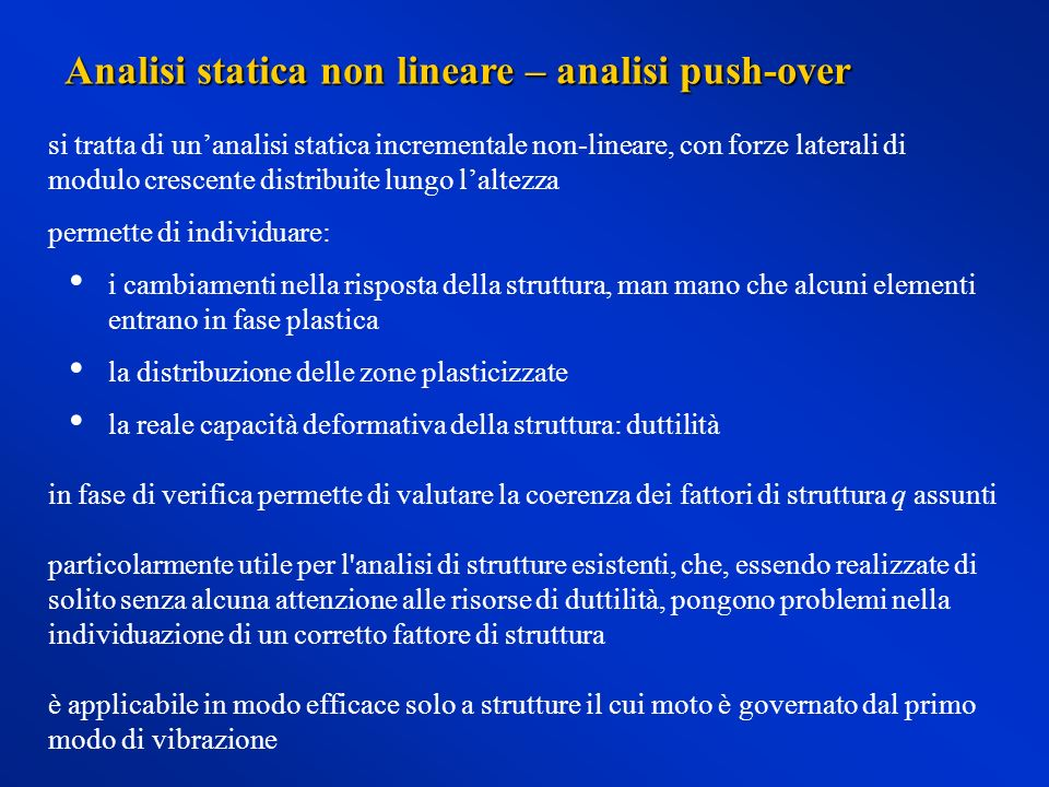 Analisi statica non lineare – analisi push-over