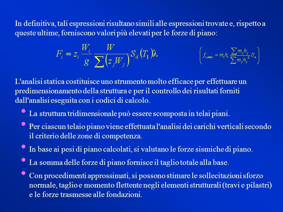 In definitiva, tali espressioni risultano simili alle espressioni trovate e, rispetto a queste ultime, forniscono valori più elevati per le forze di piano: