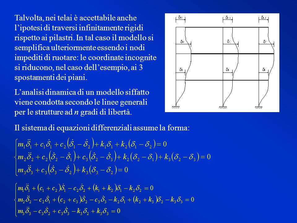 Talvolta, nei telai è accettabile anche l'ipotesi di traversi infinitamente rigidi rispetto ai pilastri. In tal caso il modello si semplifica ulteriormente essendo i nodi impediti di ruotare: le coordinate incognite si riducono, nel caso dell'esempio, ai 3 spostamenti dei piani.
