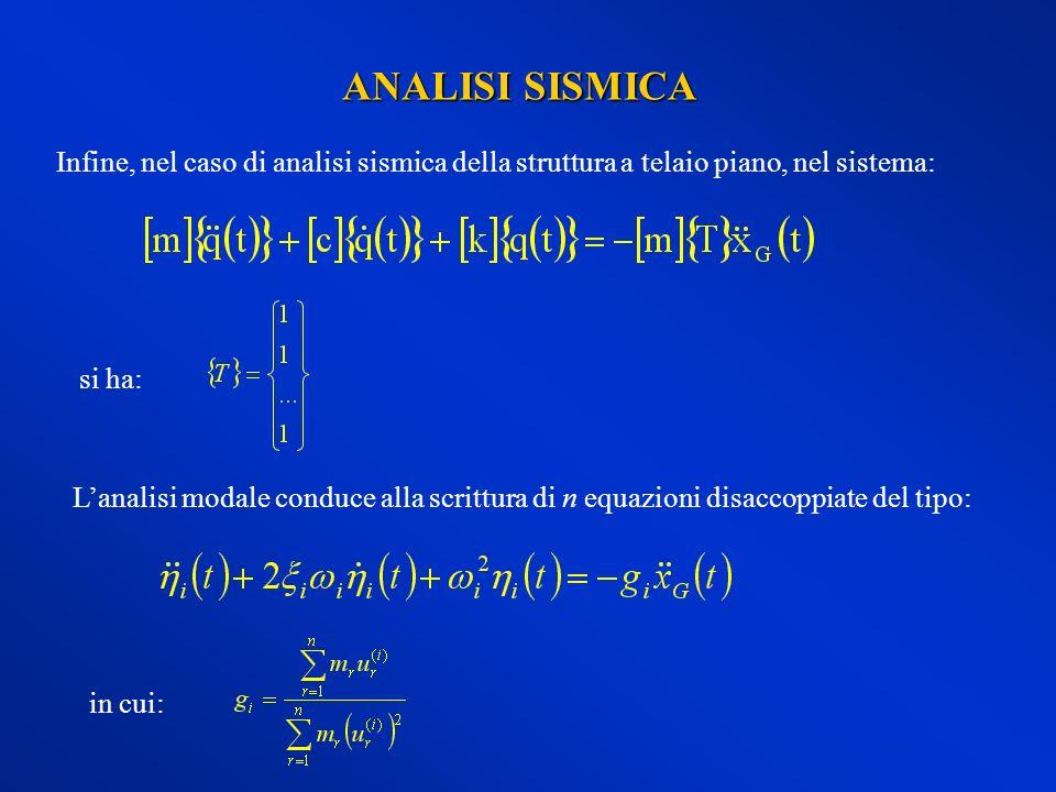 ANALISI SISMICA Infine, nel caso di analisi sismica della struttura a telaio piano, nel sistema: si ha: