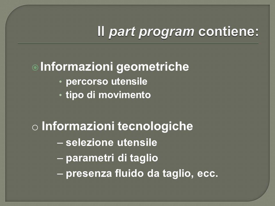 Il part program contiene: