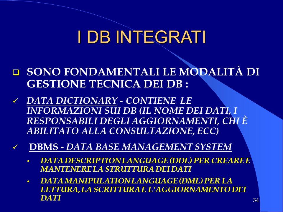 I DB INTEGRATI SONO FONDAMENTALI LE MODALITÀ DI GESTIONE TECNICA DEI DB :