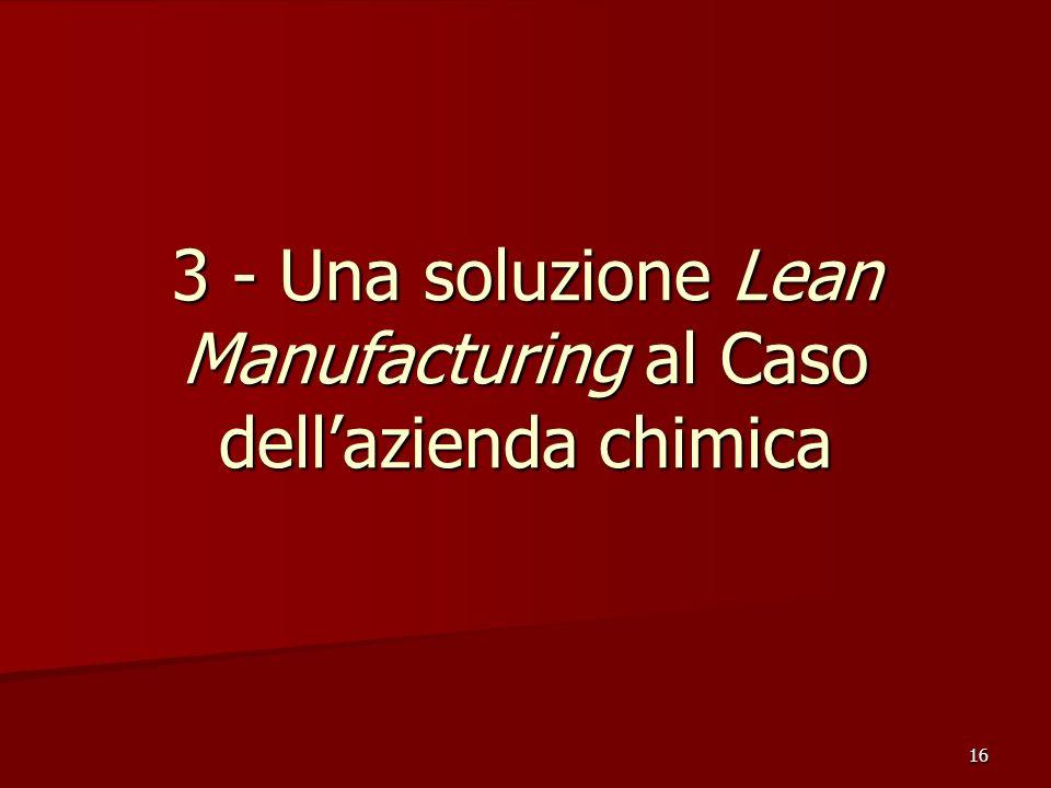 3 - Una soluzione Lean Manufacturing al Caso dell'azienda chimica