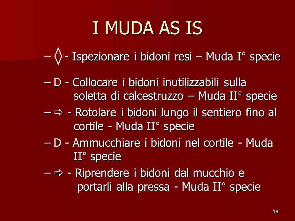 I MUDA AS IS - Ispezionare i bidoni resi – Muda I° specie