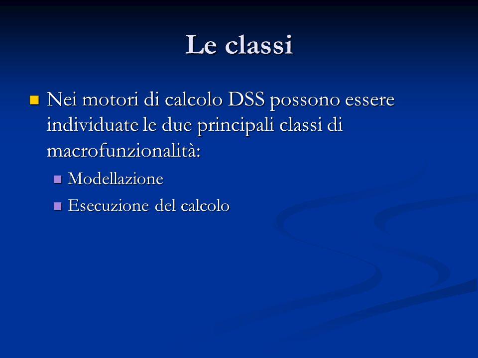 Le classi Nei motori di calcolo DSS possono essere individuate le due principali classi di macrofunzionalità:
