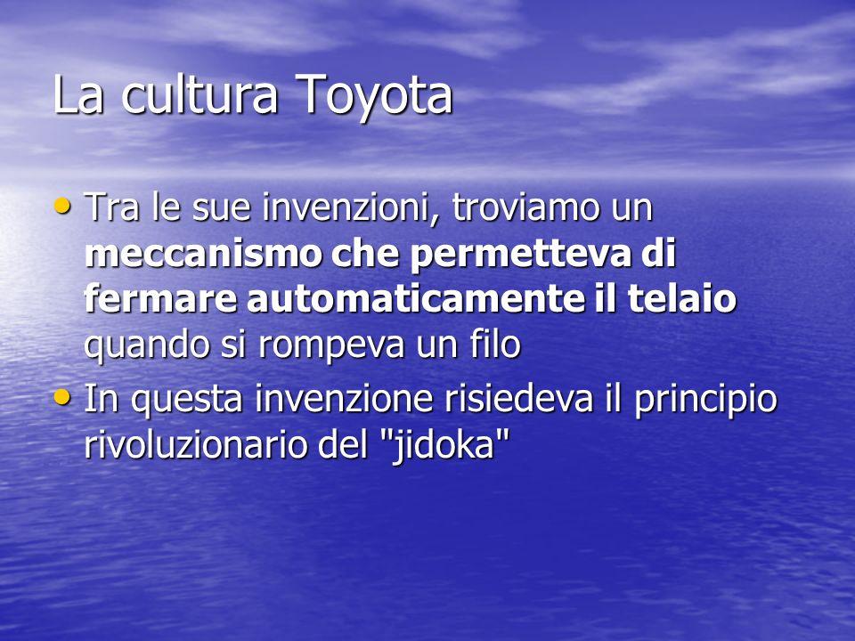 La cultura Toyota Tra le sue invenzioni, troviamo un meccanismo che permetteva di fermare automaticamente il telaio quando si rompeva un filo.