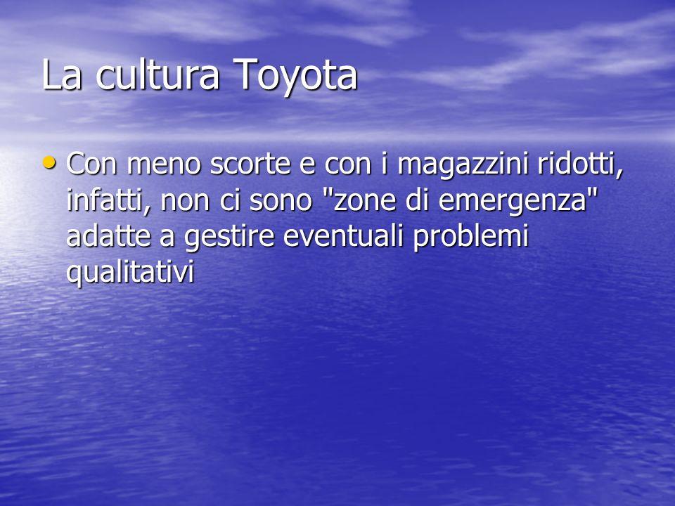 La cultura Toyota Con meno scorte e con i magazzini ridotti, infatti, non ci sono zone di emergenza adatte a gestire eventuali problemi qualitativi.