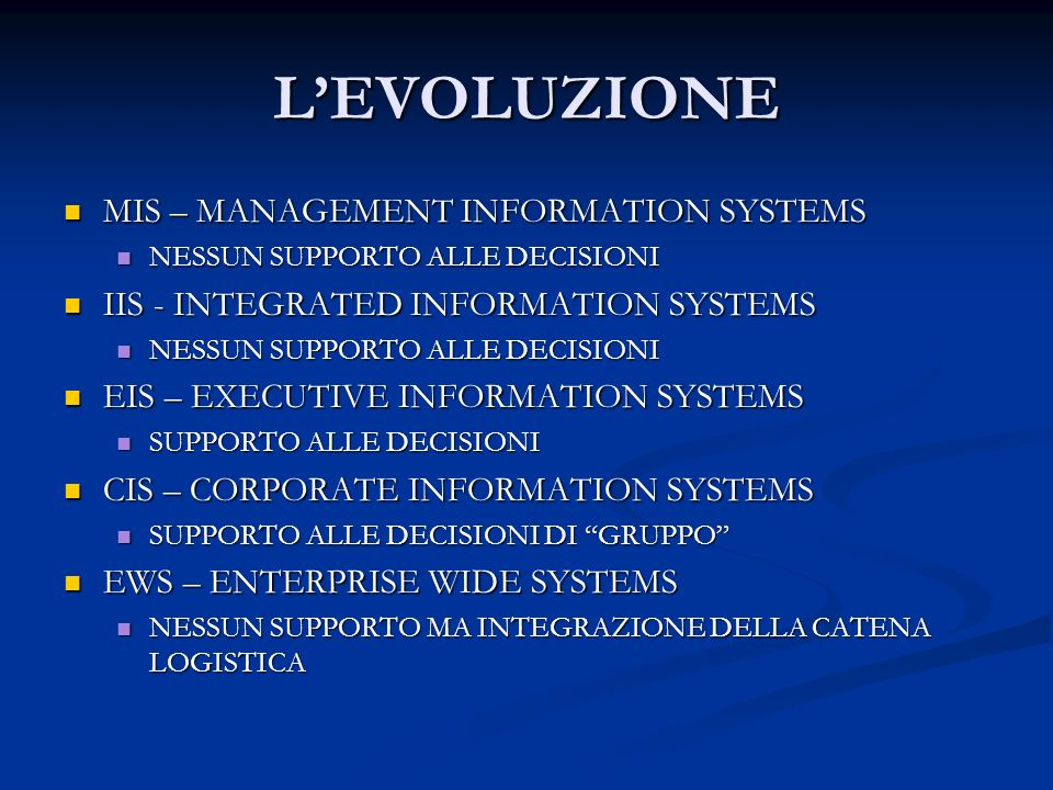 L'EVOLUZIONE MIS – MANAGEMENT INFORMATION SYSTEMS