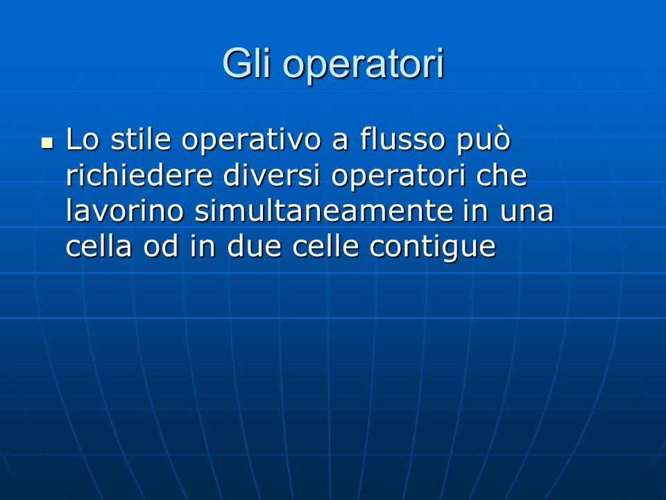 Gli operatori Lo stile operativo a flusso può richiedere diversi operatori che lavorino simultaneamente in una cella od in due celle contigue.
