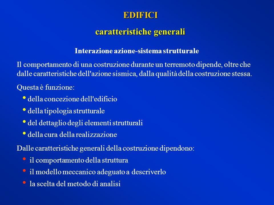 caratteristiche generali Interazione azione-sistema strutturale