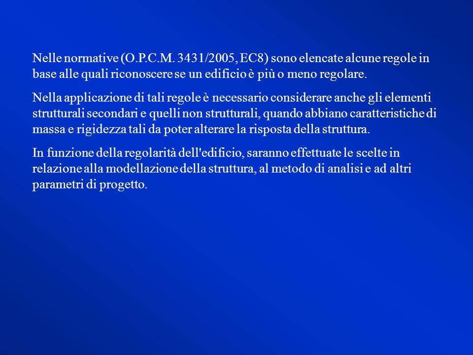 Nelle normative (O.P.C.M. 3431/2005, EC8) sono elencate alcune regole in base alle quali riconoscere se un edificio è più o meno regolare.