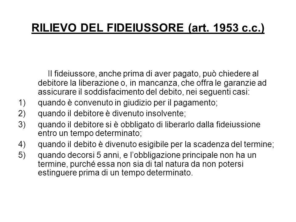 RILIEVO DEL FIDEIUSSORE (art. 1953 c.c.)
