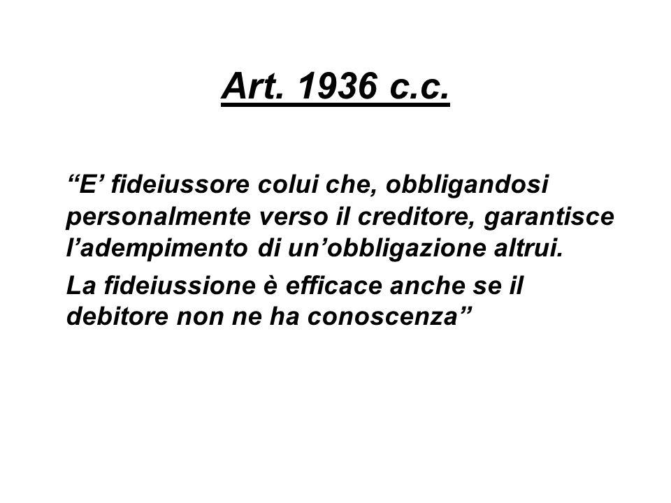 Art. 1936 c.c. E' fideiussore colui che, obbligandosi personalmente verso il creditore, garantisce l'adempimento di un'obbligazione altrui.