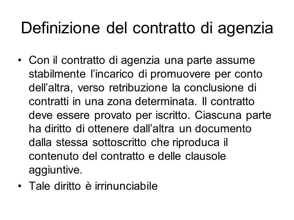 Definizione del contratto di agenzia