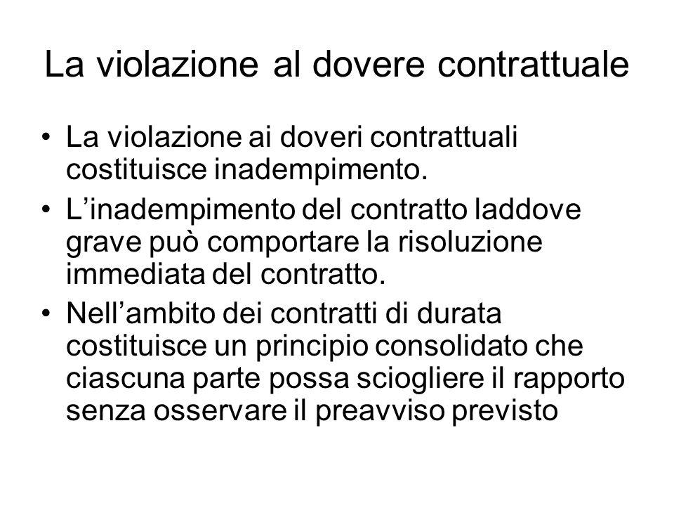 La violazione al dovere contrattuale