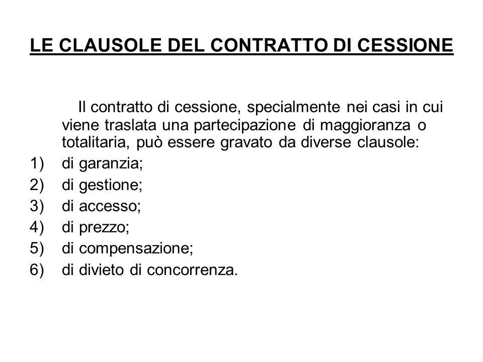 LE CLAUSOLE DEL CONTRATTO DI CESSIONE