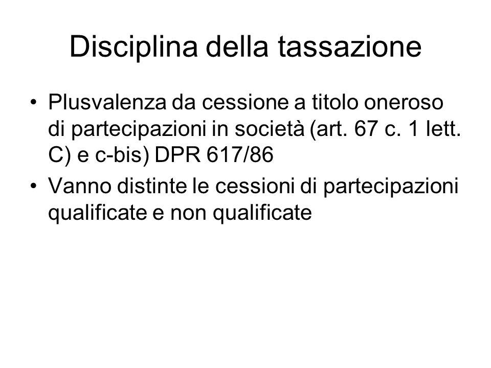 Disciplina della tassazione
