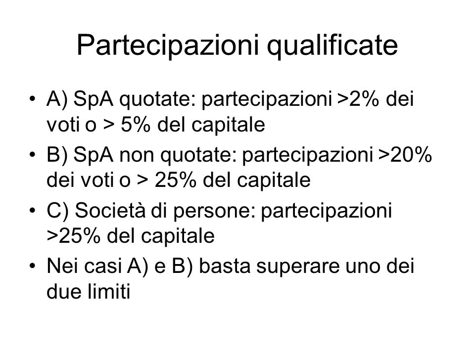 Partecipazioni qualificate