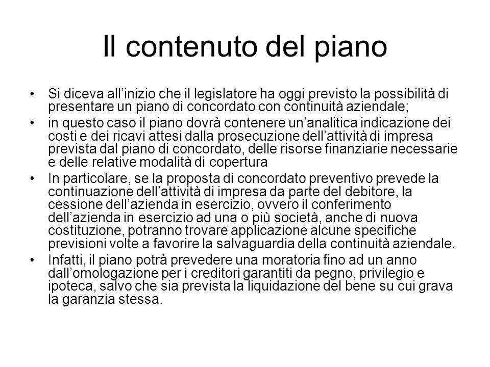 Il contenuto del piano