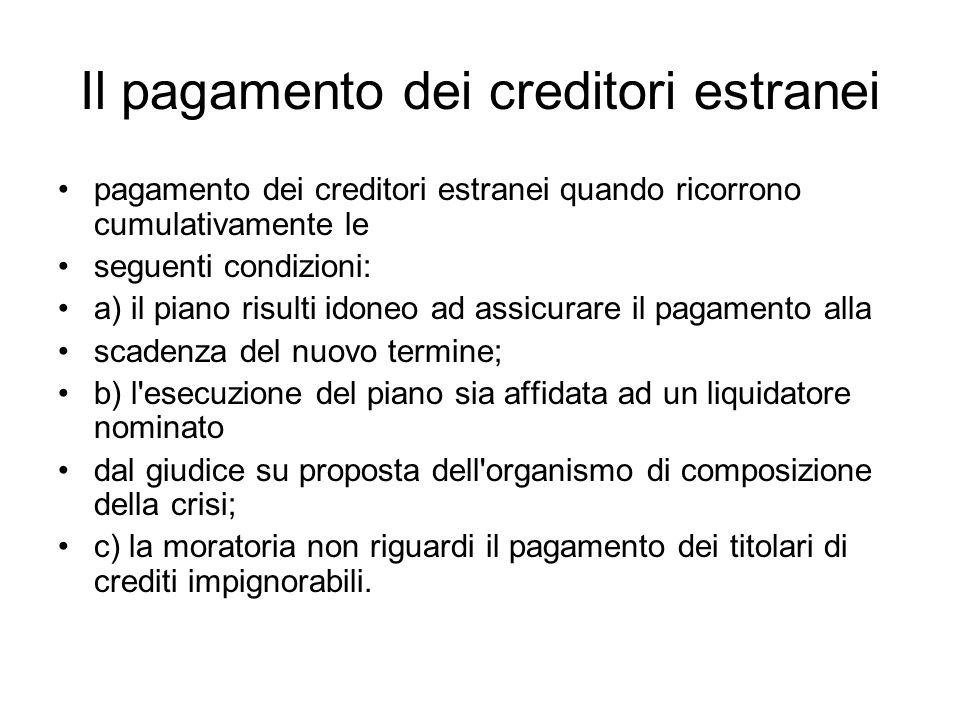 Il pagamento dei creditori estranei